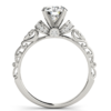 Diamond Antique style ring setting 14K White gold 0.24ct