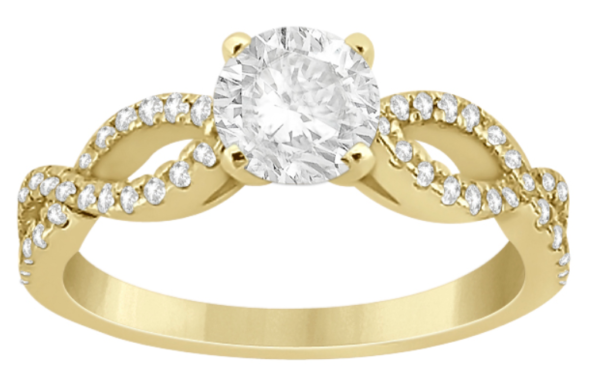 Diamond twist infinity Engagement Ring 14k 0.50ct