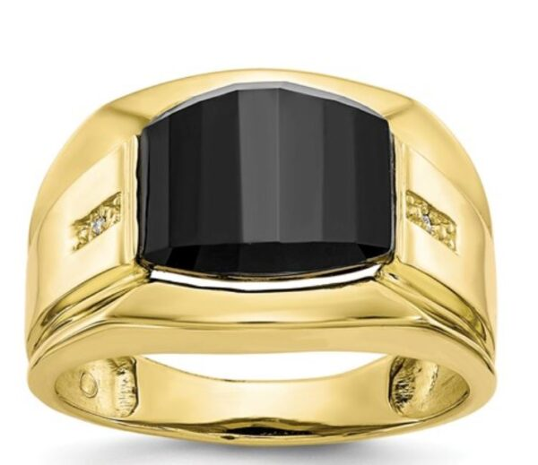 10k Men's Diamond And Black Onyx Ring