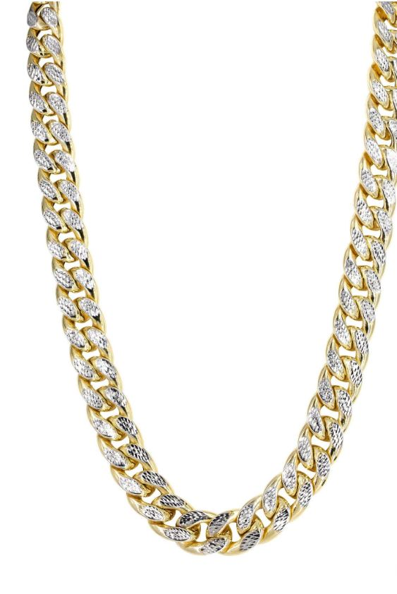 14K Gold Chain – Hollow Diamond Cut Miami Cuban Link Chain