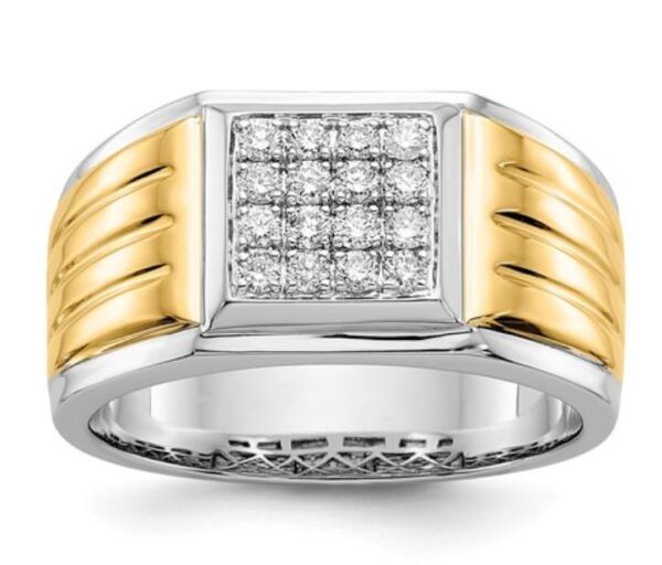 14K Yellow And White Gold Diamond Square Men's Ring .40ct