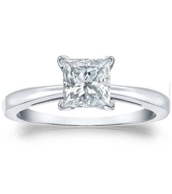 14k Gold Certified 3.00-Carat TW Princess-Cut Solitaire Diamond Engagement Ring