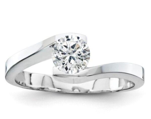 14k White Gold VS Diamond Solitaire Ring