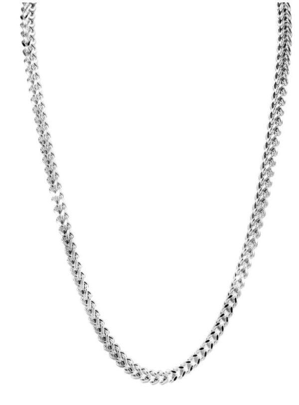 Gold Chain – Mens Hollow Franco Chain 10K White Gold