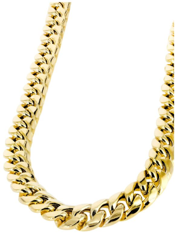 Gold Chain – Mens Hollow Miami Cuban Link Chain 10K Gold