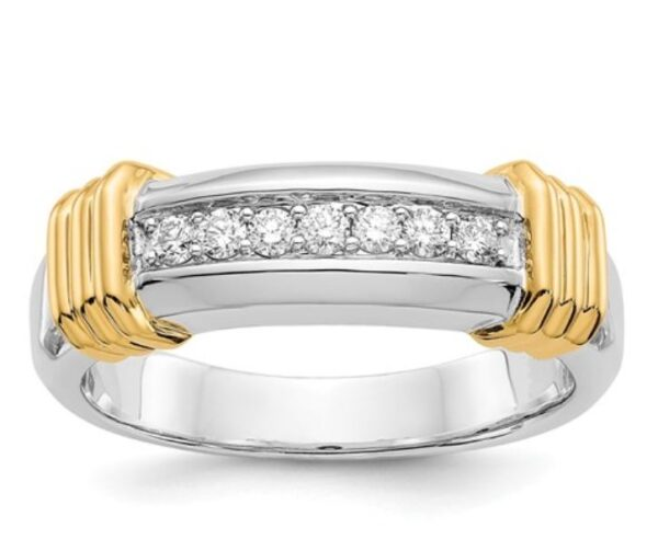 Two Tone Diamond Men's ring 0.24CT
